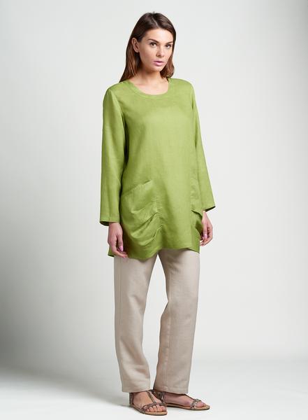 Women's Linen Tunics - Linen Pleated Details Pocket Bracelet .