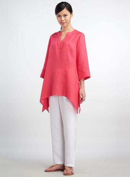 Women's Linen Tunics - Linen Picot Stitch Notch Neck Tunic | ANN G .