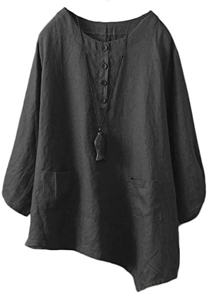 Minibee Women's Linen Tunic Blouse Elbow Sleeve Asymetrical Shirt .