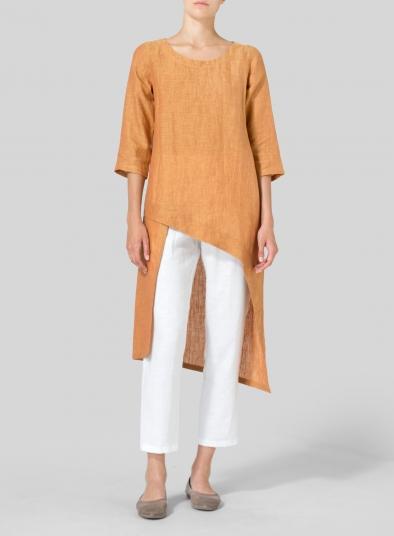 Linen Asymmetrical Tunic - Plus Si