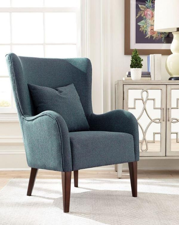 Dark Teal Winged Accent Chair | 903370 | Living Room Chairs .