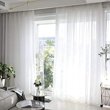 Amazon.com: Home Brilliant Linen Sheer Curtains White Voile Window .