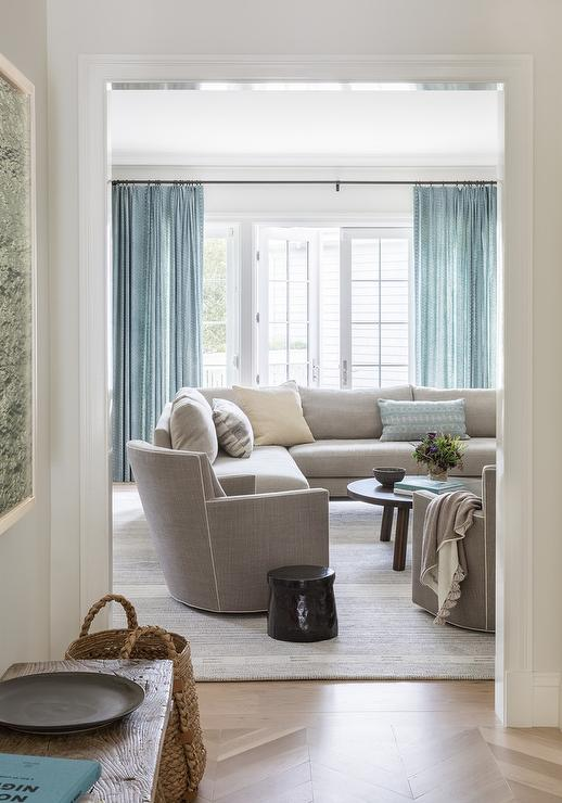 Light Gray Sectional with Blue Curtains - Transitional - Living Ro