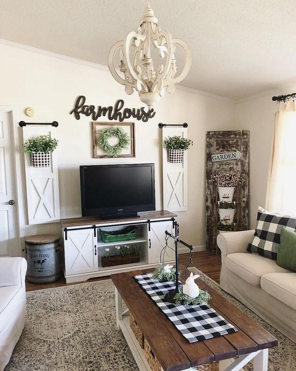 21+ Rustic Farmhouse Living Room Decor Ideas #FarmhouseLivingRoom .