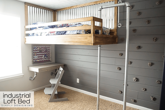 Industrial Loft Bed with Rock Wall and Fireman's Pole | Simply .