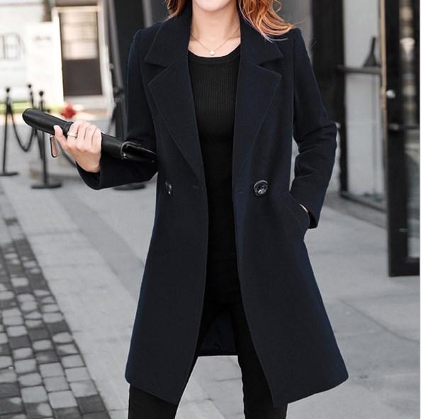 Wool Blends Womens Double Breasted Long Blazer For Women Woolen .