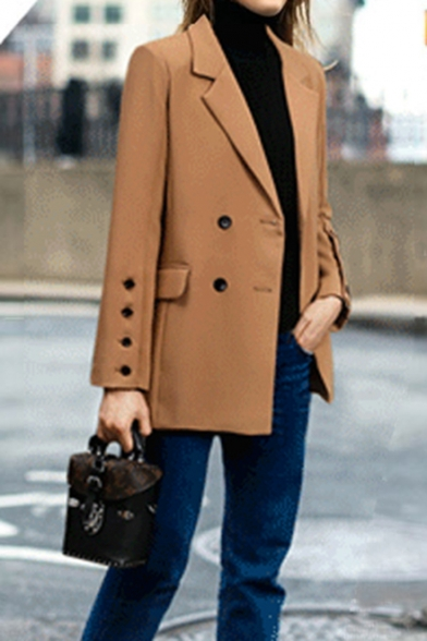 Chic Notched Lapel Collar Double Breasted Flap Pockets Long Blazer .