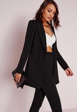 Longline Blazer Black (With images) | Long black blazer, Long .