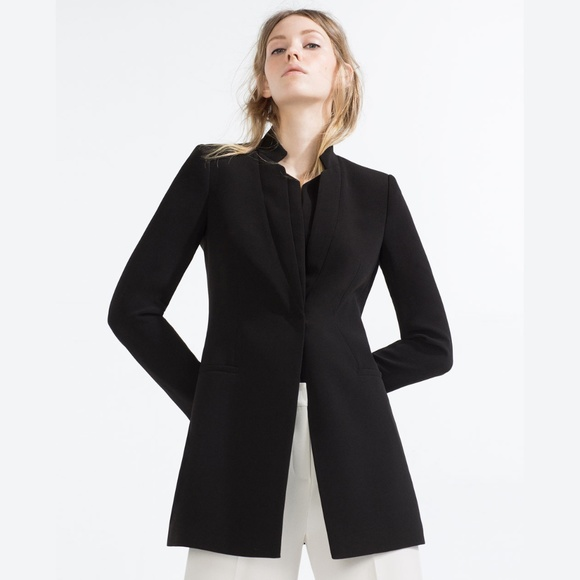 Zara Jackets & Coats | Long Blazer Black Notched Lapel W Pocket .