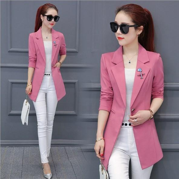 2020 Brand Ladies Slim Long Blazers And Coats Spring Autumn Formal .