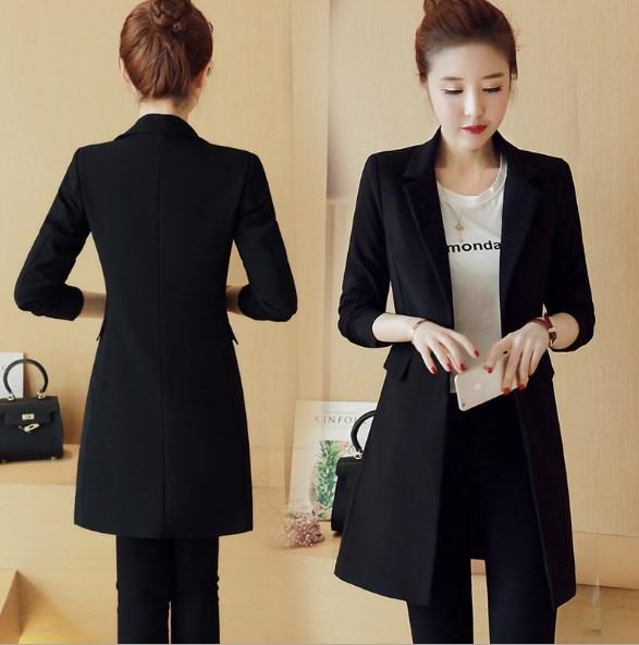 2020 2018 Korean Fashion Spring Autumn Womens Slim Black Blazers .