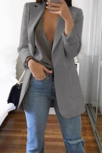 Women's Elegant Lapel Collar Open Front Long Blazer with Pocket .