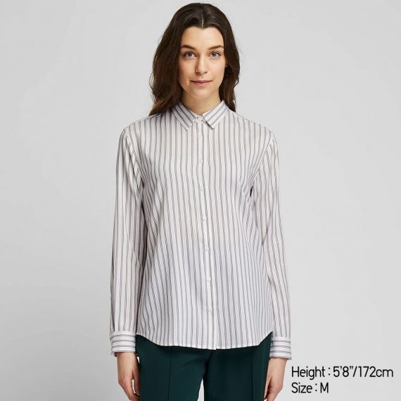 WOMEN Rayon Striped Long Sleeve Blouse - Shirts & Blouses - TOPS .