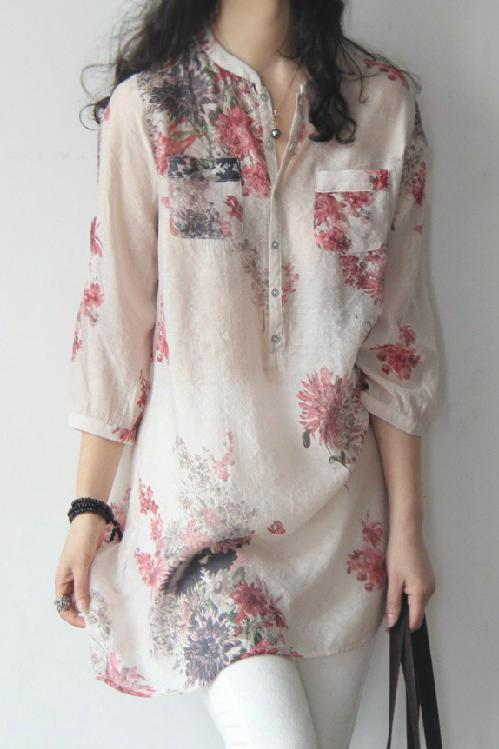 A| Chicloth Cotton Linen Women Band Collar Floral Printed Long .
