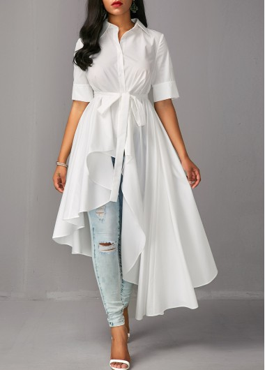 Asymmetric Hem Half Sleeve White Long Blouse, chic, fashion, white .