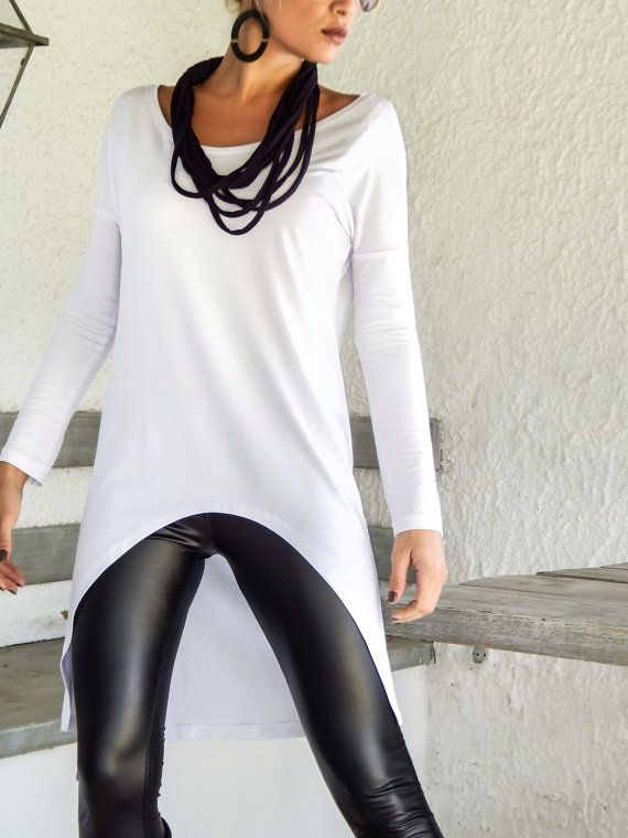 White Asymmetric Top Blouse / Short Front Long Back Top Blouse .