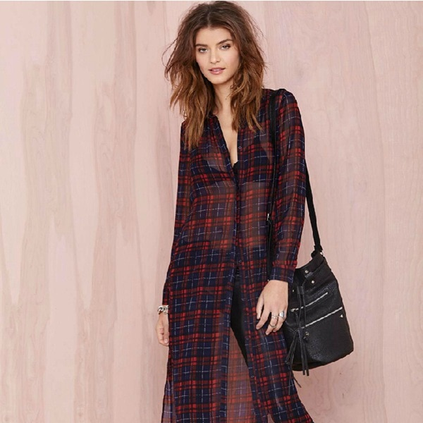 Oversize New 2015 Button Closures Plaid Shirt Women Blouses Long .