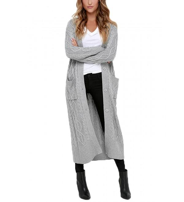 Womens Casual Open Front Long Sleeve Long Cardigans Knit Sweater .