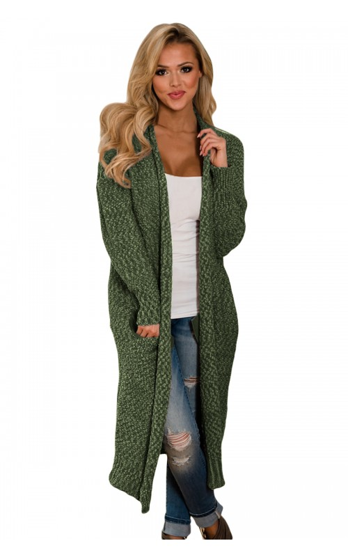 Green Solid Pockets Open Front Full Sleeve Regular Knit Long .