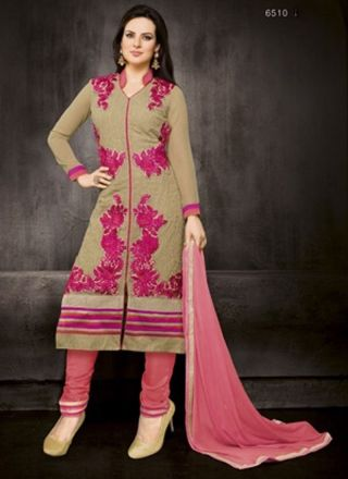 Light Green With Pink Fancy Designer Casual Wear Long Churidar .