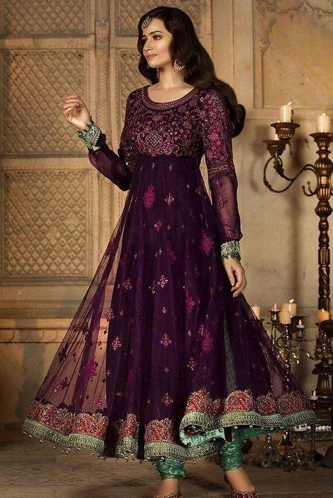 Pakistani Designer Long Frock Churidar Pajama Lehenga Online at .