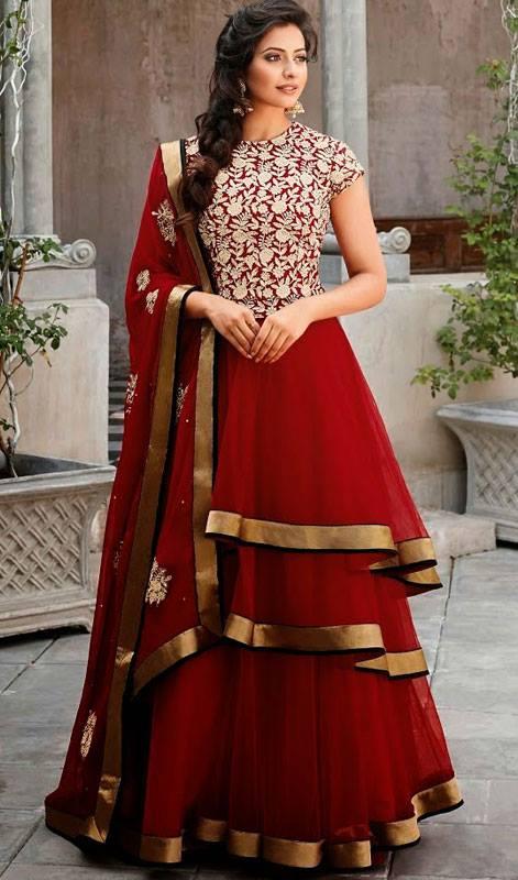 Designer Crimson Layered Net Churidar dresses - Live Style .