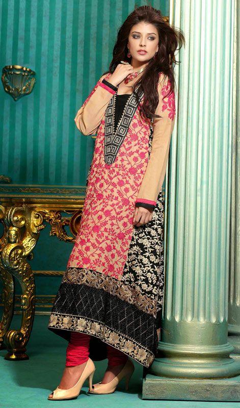 Peach and Black Pakistani Long Churidar Dress This long Pakistani .