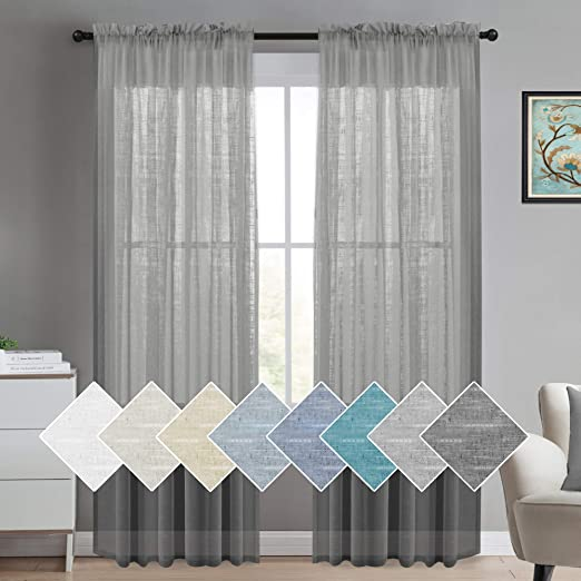 Amazon.com: Linen Curtain Panel Pair Extra Long Curtains 108 .