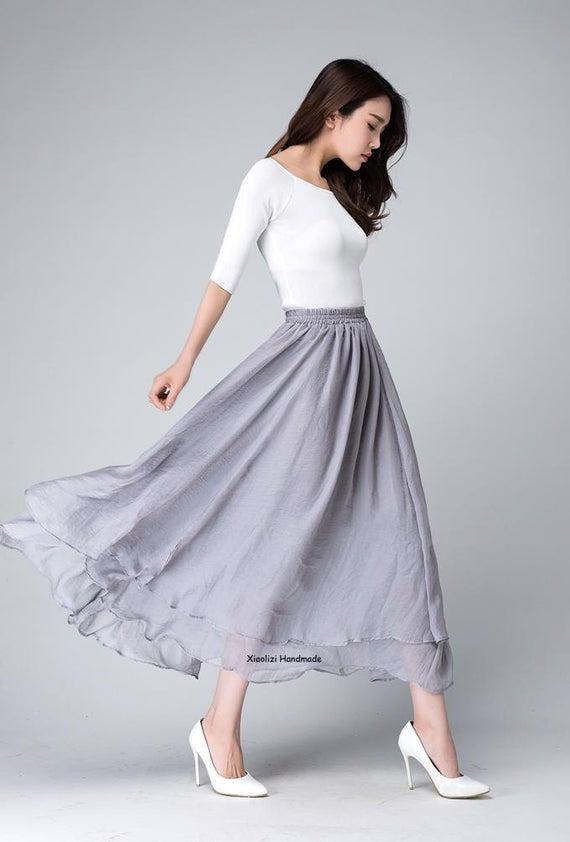 Chiffon Skirt Swing maxi skirt Long skirts for women Grey | Et