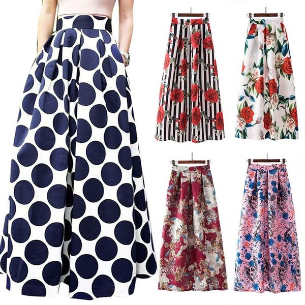 Women High Waist Maxi Skirt Prom Gown Polka Dot Floral Print Loose .
