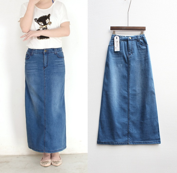 Women Long Denim Skirt Casual Plus Size Maxi Skirts Blue Color .