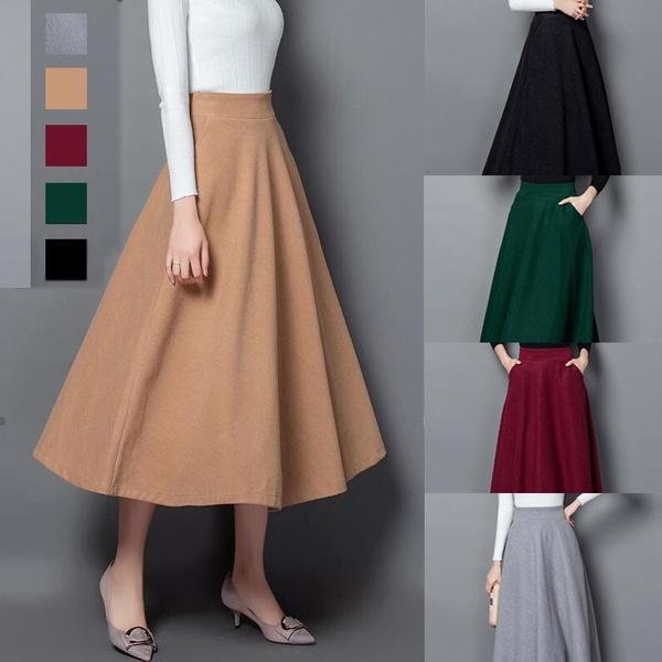 Winter Skirt Women Autumn Fashion Women's Long Woolen Skirts A .
