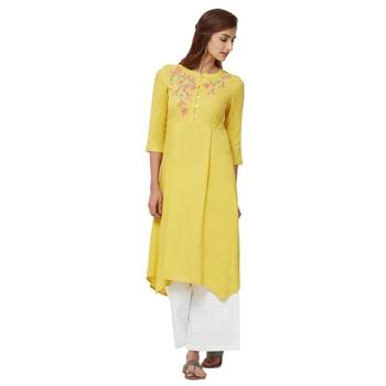 Yellow embroidered rayon long tops - Naari - 28574