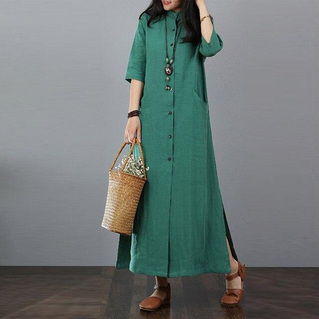ZANZEA 2018 Autumn Long Maxi Dress Long Tops Women Button Down Shi.