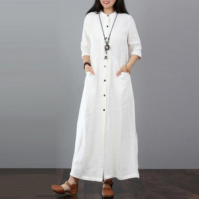 ZANZEA 2020 Autumn Plus Size Maxi Dress Long Tops Women Button .