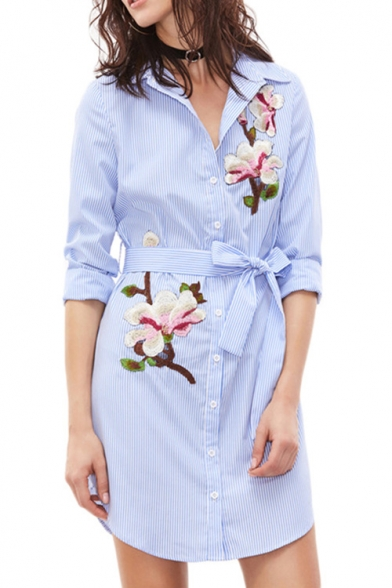 New Arrival Long Sleeve Lapel Collar Button Down Floral Printed .