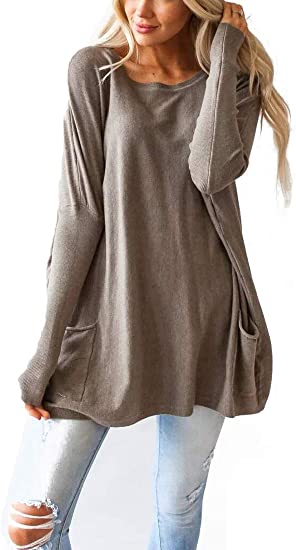 Fronage Womens Casual Fall Tops Oversized Shirts Long Sleeve .