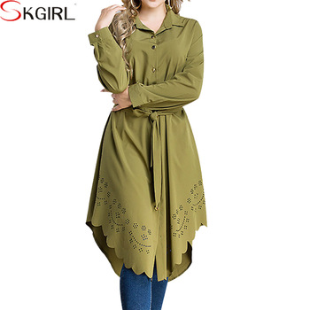 Plus Size Long Sleeve Abaya Tops Blouse Hollow Irregular Casual .