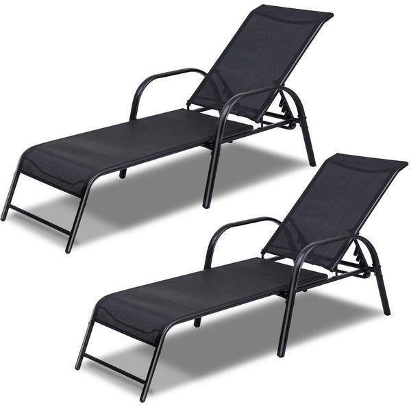 Shop Costway Set of 2 Patio Lounge Chairs Sling Chaise Lounges .