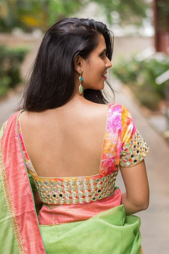 14 Sassy Deep Back Neck Blouse Designs For Sarees | Low neck .