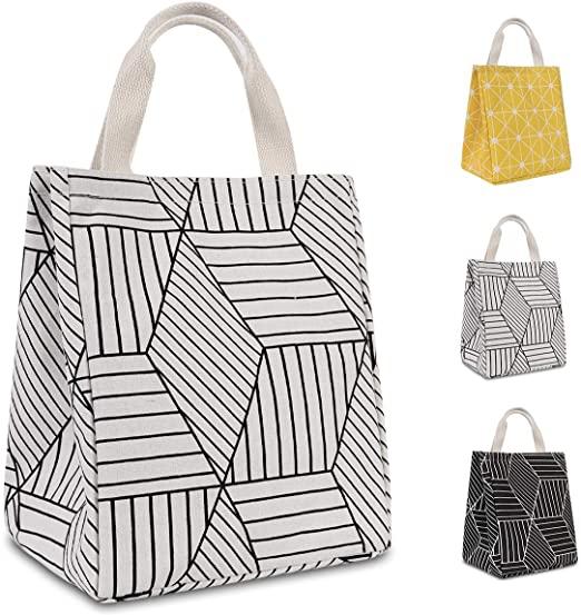 Amazon.com: HOMESPON Reusable Lunch Bags Printed Canvas Fabric .