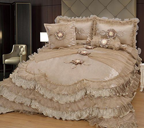 Brandream Champagne Lace Ruffle Comforter Set Luxury Noble Bed .