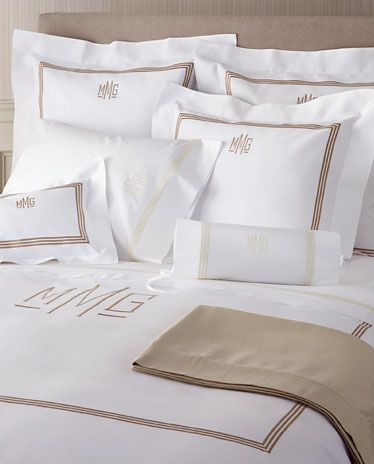 3 Line Embroidered and Monogram Pique Bed Linens with Coordinating .