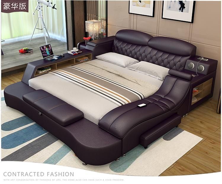 Modern luxury leather bed frames Led Lights and Full Option .