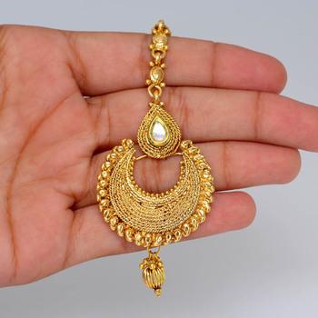 Designer Fine Gold Plated Traditional Maang Tikka Jewellery .