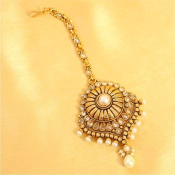 Pearl & Zircon Antique Gold Maang Tikka - Sanvi Jewels Pvt. Ltd .