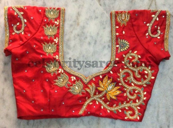 Red Blouse with Maggam Work Lotus Flowers | Blouse work designs .