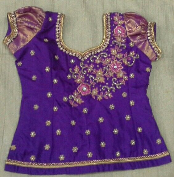 Pattu blouse with maggam work 7702919644 (With images) | Kids .