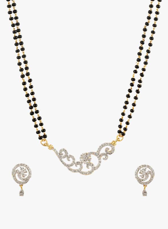 Buy Sia Art Jewellery Golden & Black Brass Mangalsutra Set Online .