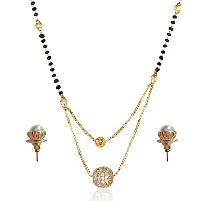 Buy brado jewellery Gold Plated Mangalsutra set AD Diamond Round .